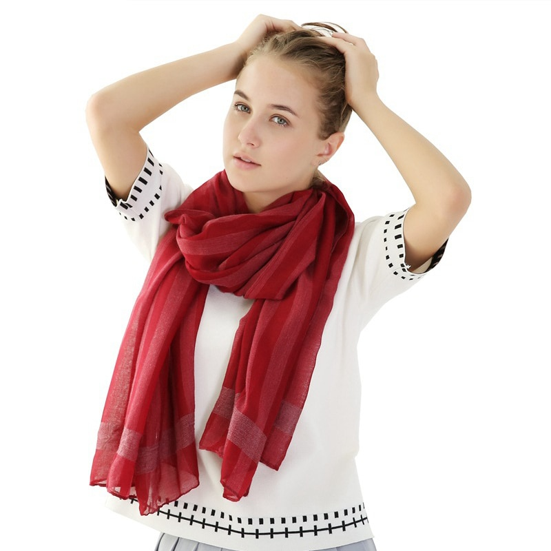 Primavera otoño mujer algodón pañuelo Color liso bufandas chales rayas liso suave...