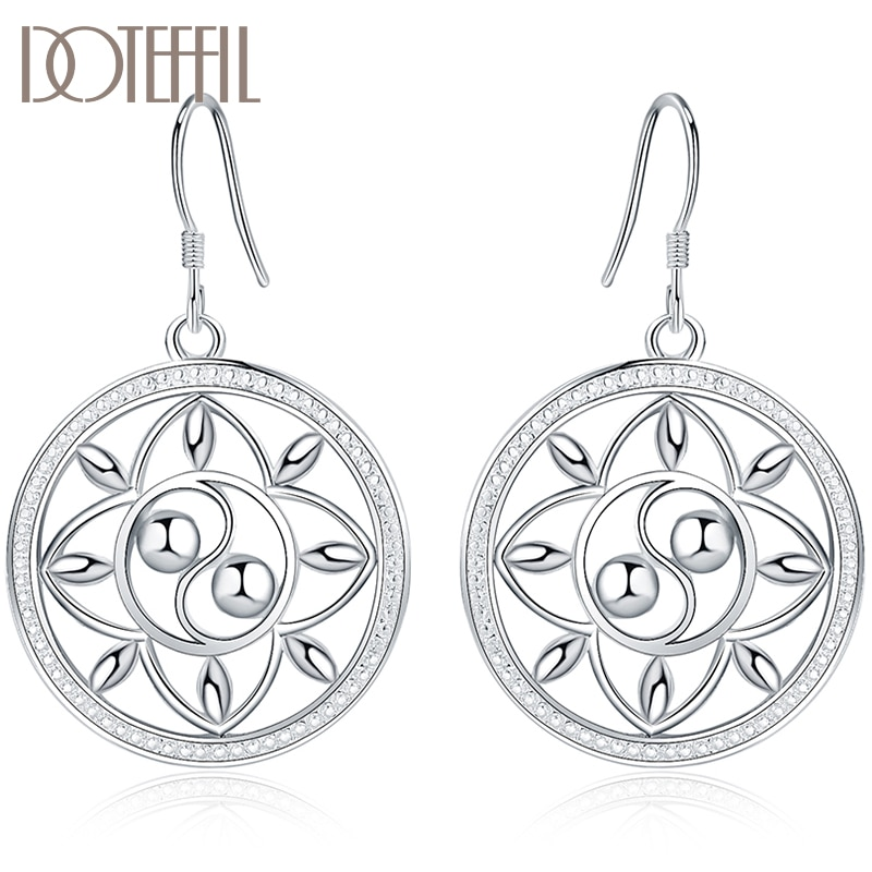 DOTEFFIL 925 Sterling Silver Circle Round Drop Earrings For Women Lady Fashion Wedding Engagement Party Jewelry nasia jewelry 925 sterling silver mystery rainbow crystal earrings for women girl ear hook style earrings engagement party decor