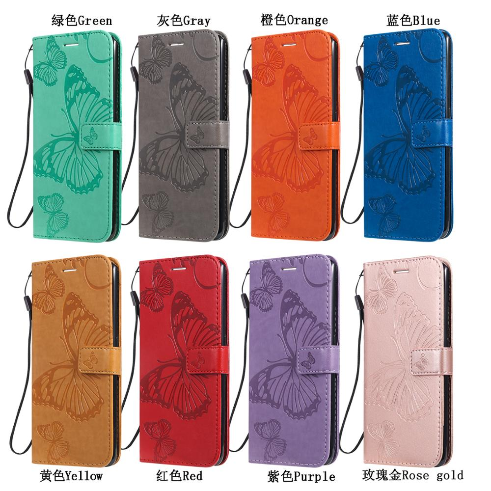 Wallet Cases For Xiaomi 10 Pro 9 8 7 6 Redmi Note 8 Go Note 6 Pro 3D Embossed Butterfly Style PU Leather Flip Case Stand Cover