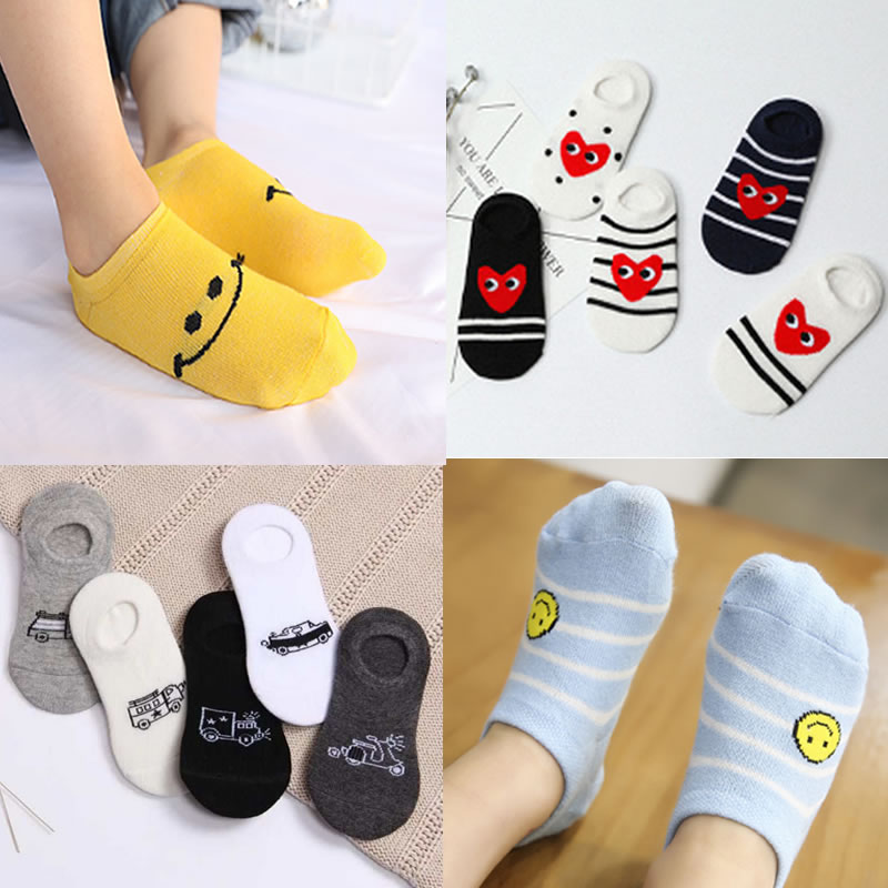 New Childrens Socks Spring and Summer No-Show Cartoon Smiley Face Hidden Sock Cotton kids ankle
