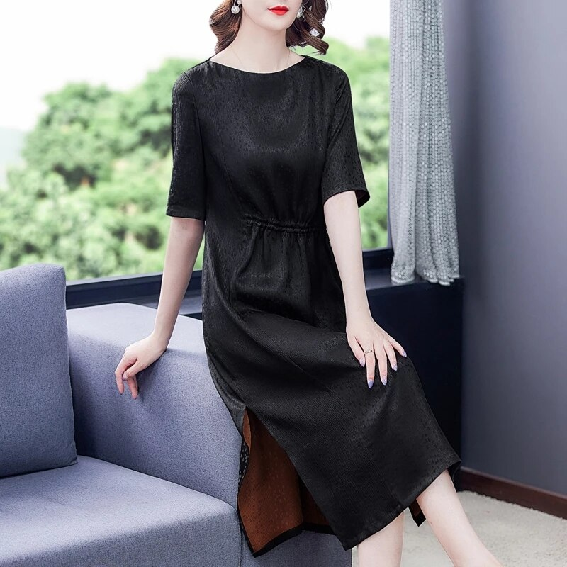 Summer Vintage Black Silk Satin Midi DressSpring Casual Solid L-4XL Plus Size high qualitySundress Women Elegant  Party Vestidos