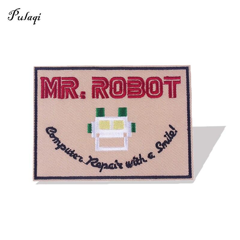 Pulaqi Mr.Robot, железные нашивки для одежды, обручи, вышитые нашивки, значки «сделай сам», декоративные тканевые аксессуары, одежда, наклейки, поло...