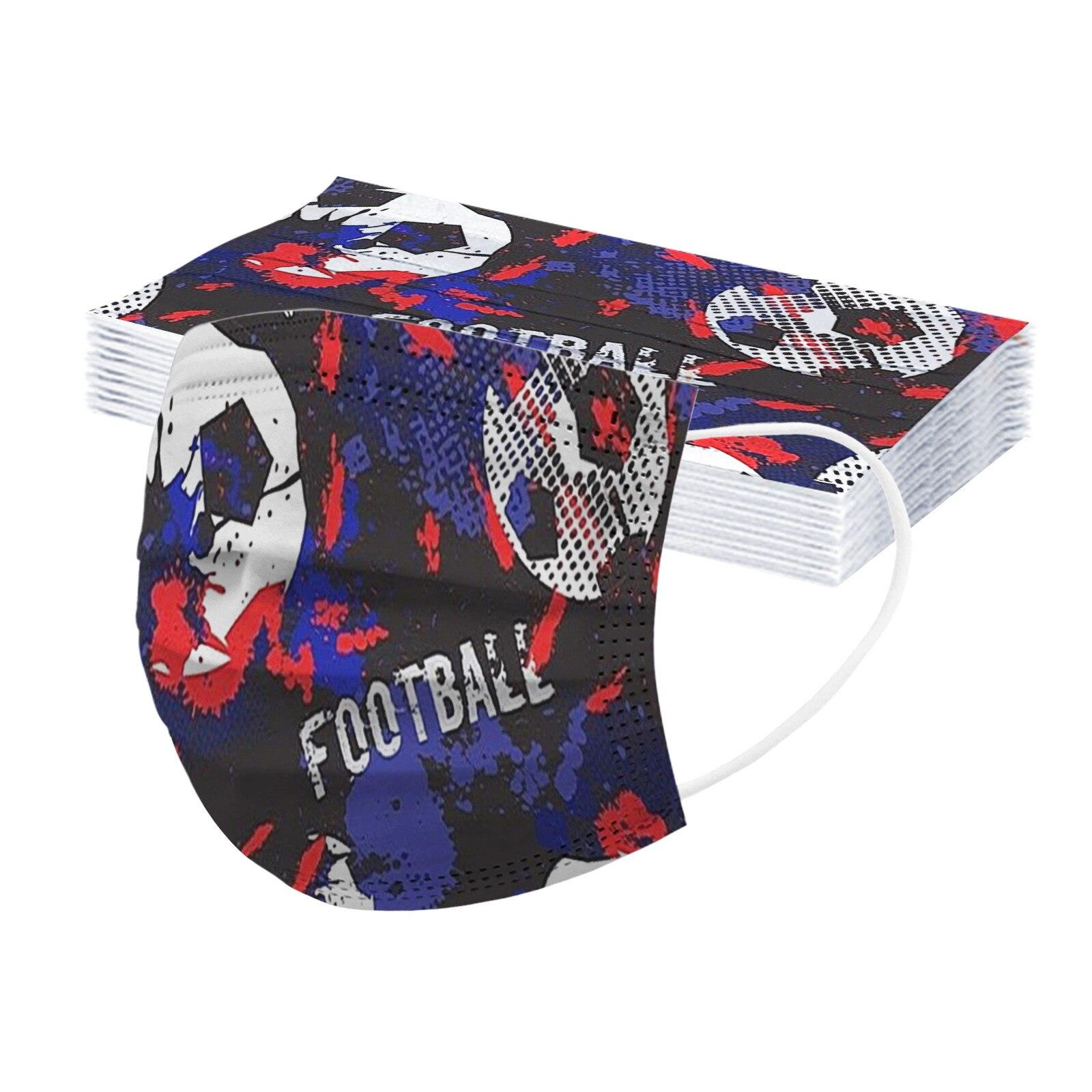 50 шт., детские одноразовые маски с рисунком футбольного мяча