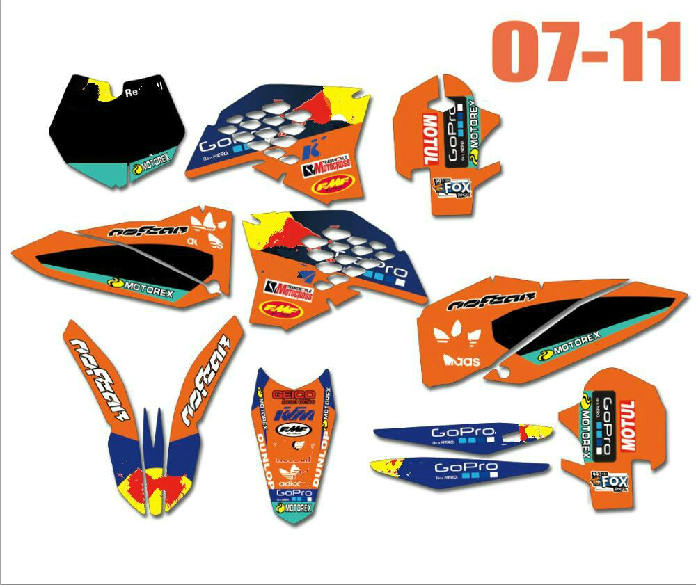 Наклейки для мотоциклов набор графических наклеек для KTM 125 250 300 350 400 450 SXF SX-F SX 2007-2010 / EXC EXC-F 2008 - 2012 2011 2010