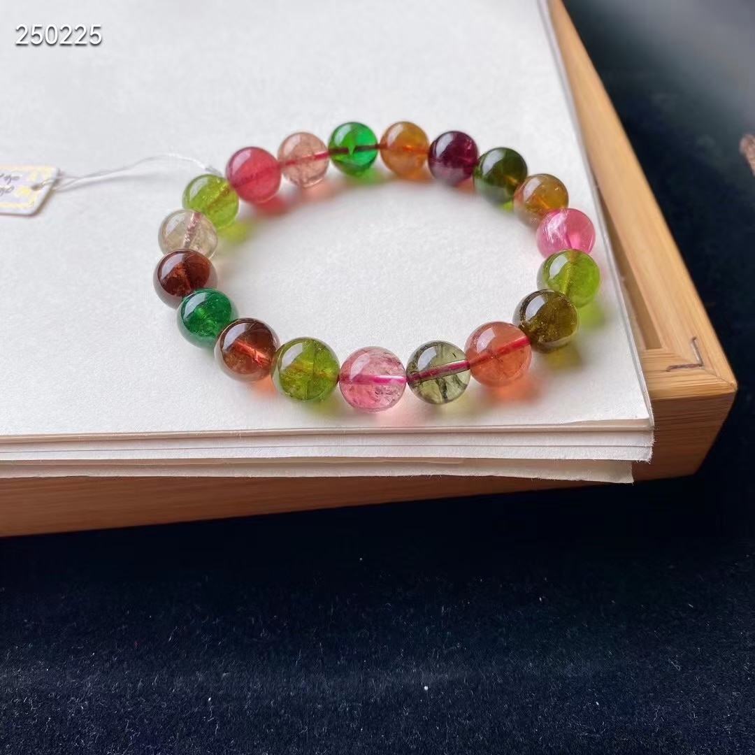 Natural Colorful Tourmaline Crystal Bracelet Clear Round Beads 10.6mm Women Crystal Jewelry Candy Tourmaline AAAAAAA