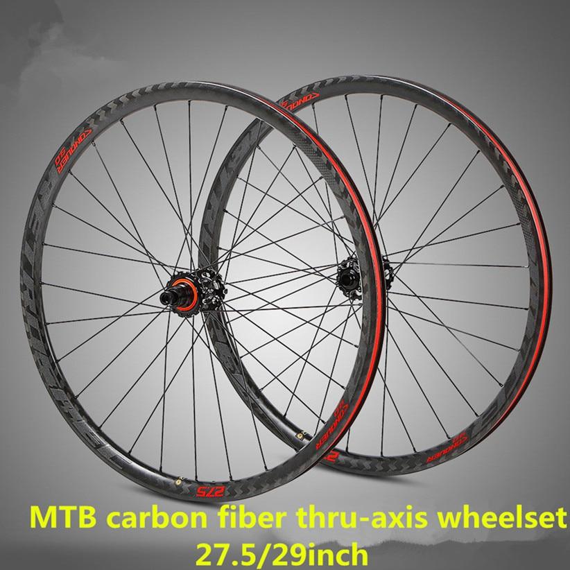 M920 C9.0 MTB Mountain Bike Bicycle Ultra-light Carbon Fiber Shaft Four Palin Side Pull Wheelset Hub Thru-axis Shaft Wheel Set