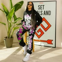 womens suits floral letter print hoodie 2 piece sweatsuit hooded full sleeve sweatshirt baggy jogger sweatpant co ord outfits
