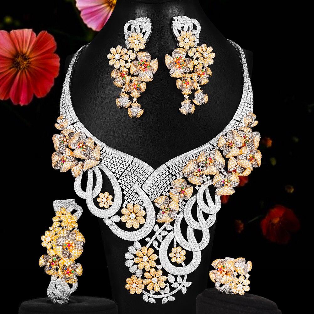 Missviki التصميم الأصلي الفاخرة رومانسية تزهر الزهور كبيرة قلادة سوار خواتم أقراط لل مجوهرات الزفاف الزفاف مجموعة