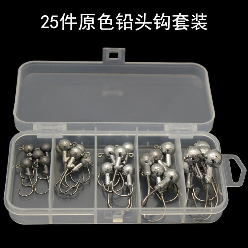 Lead head hook 25pcs/1set 2.5g 3.5g 5g 7g 10g Jig Head fishing hook For soft worm Lures Fishing Tackle enlarge