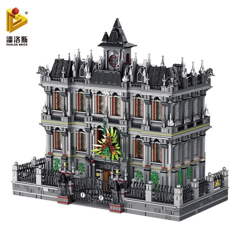 Panlos blocos de construção moc compatível com legoingly cidade criador gotham super-herói batman arkham abrigo modelo brinquedo adesivo presente