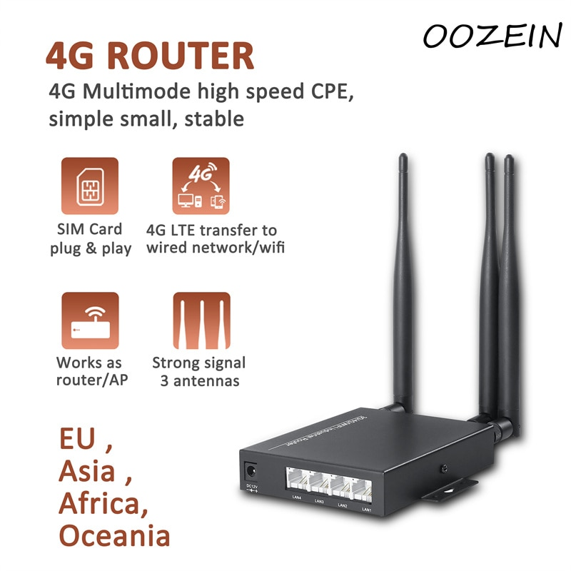 4g Wifi Router with Sim Card Slot 300Mbps CAT6 LTE CPE Routers All Weather Wifi Outside Booster Extender for IP Camera