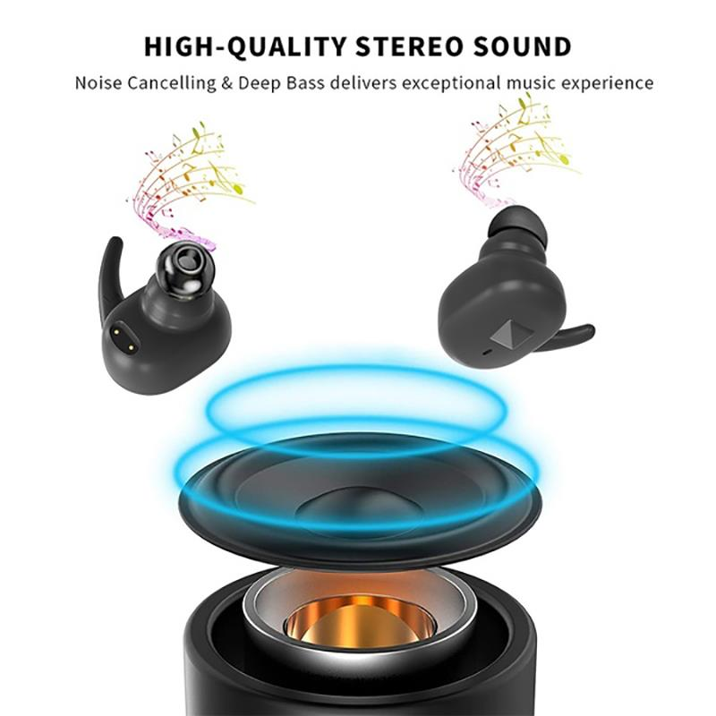 TWS Bluetooth 5.0 Wireless Earphones Noise Reduction Stereo In-ear Headphones Sport Headseat Earbuds for iOS and Android. enlarge