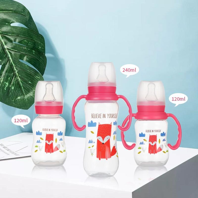 Cute Glass Baby PP Bottle Silicone Straw Water Drink Bottles For Baby Milk Feeder Set Baby Feeding Bottle Newborn Baby Bottle