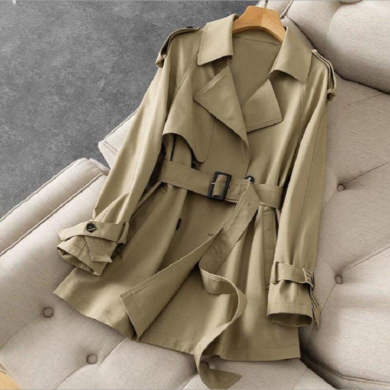Женский Британский тренчкот с поясом, Женская ветровка цвета хаки, осенние модные куртки, Анорак, ветровое готическое пальто для женщин, 2021