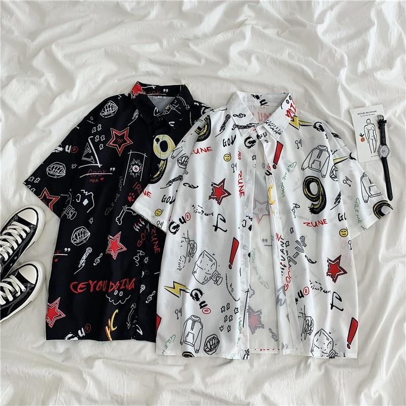 EBAIHUI Graffiti Shirts Female Loose Summer New Student Harajuku Bf Half-sleeved Blouse Women Korean Style Tops and Blouses
