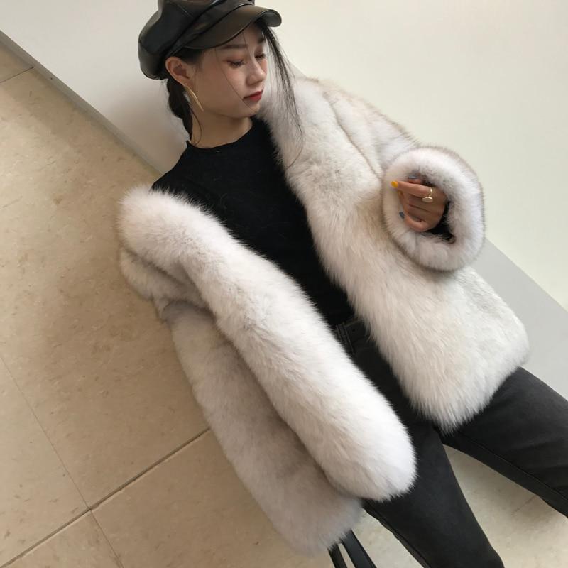 Real Fox Fur Coat Women New Winter Thick Warm Natural Furry Fur Coat Overcoat Women's Korean Jacket Outerwear Lady Clothes