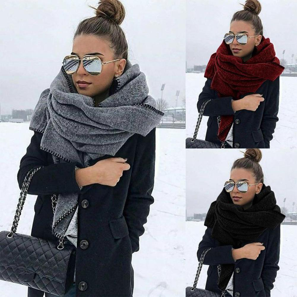 Scarf Soft Warm Keeping Fleece Solid Color Shawl Outdoor Neck Wrap for Travel