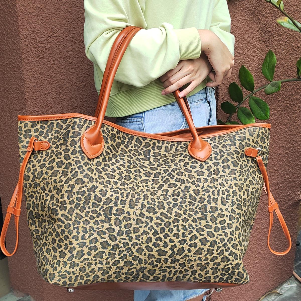 35 قطعة مجموعة ليوبارد حمل سعة كبيرة الفهد حمل سلسلة لا نهاية لها قماش حقيبة يد DOMIL388