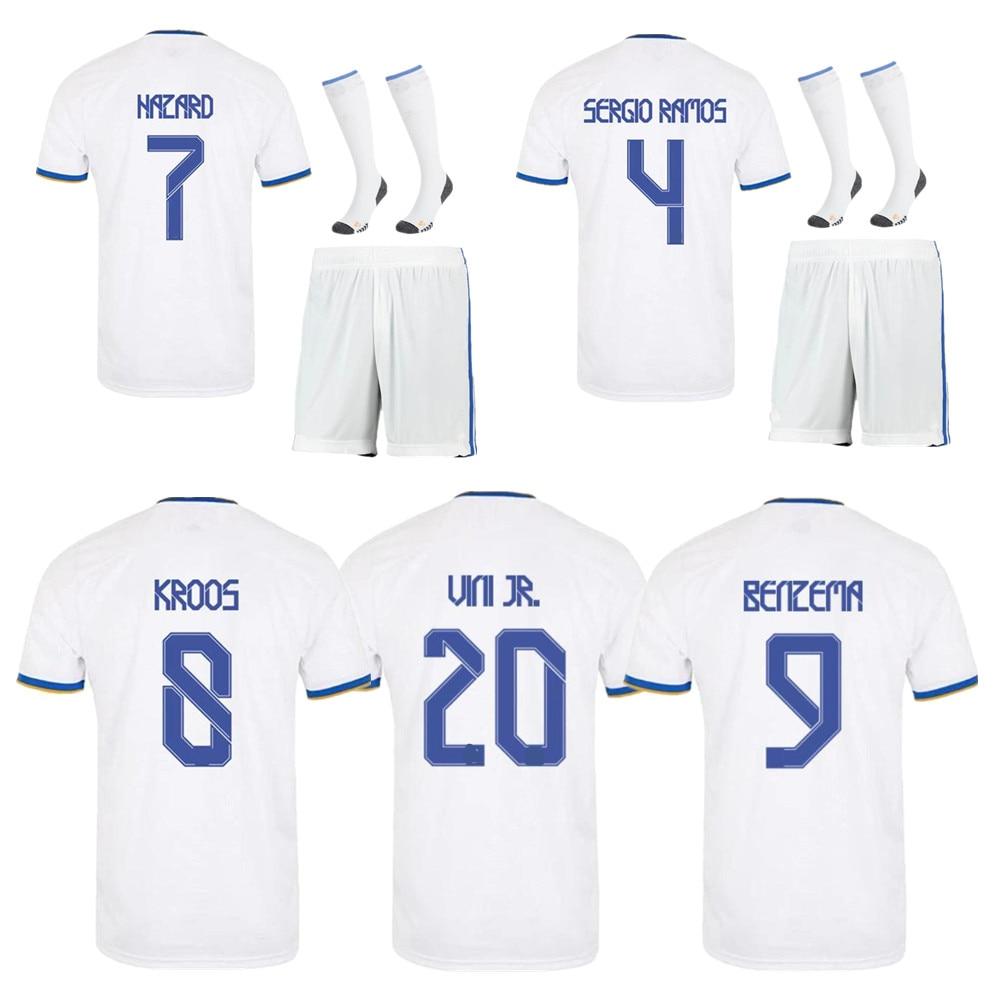 men + kids 2021 2022 kits home football T SHIRT 21/22 Camiseta de fútbol BENZEMA MODRIC KROOS HAZARD football shirts