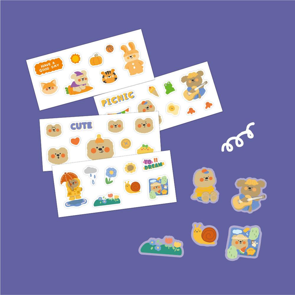 INS Cartoon Lovely bear sticker DIY scrapbooking diary photo Album Junk Journal stationery Trolley Case decoration sticker
