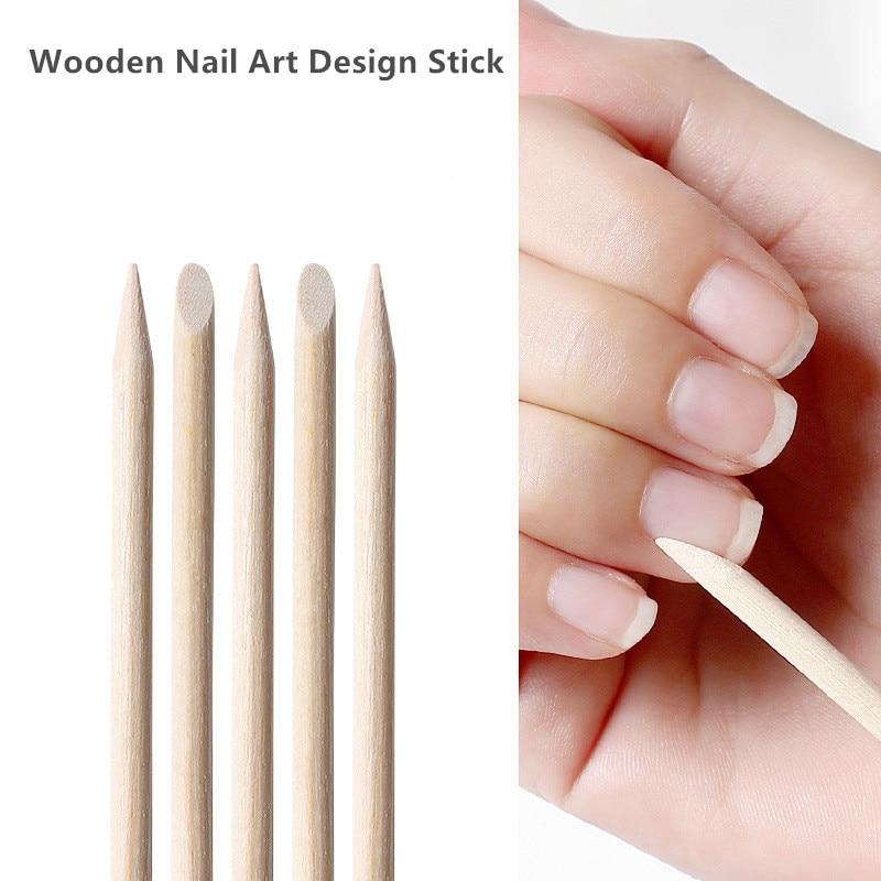 Quitacutículas de madera para decoración de uñas, varitas de madera para quitar cutículas, accesorios Nail Art para manicura, 50 Uds.