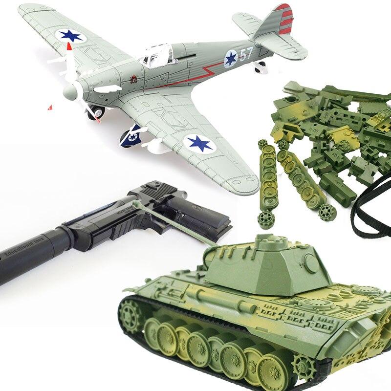 DIY monta luchador juguetes modelo de tanque bloque set de armas la guerra aviones-II Spitfire pirata militar tanque Tigre Águila del desierto