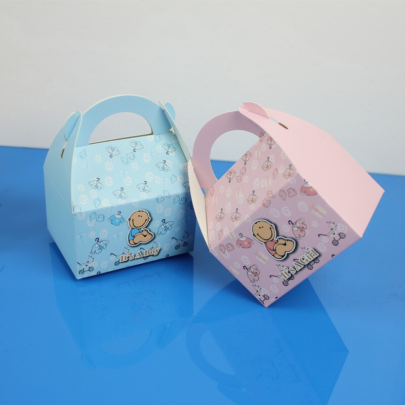 20pcs/set Baby Girl And Boy Paper Gift Box Party Baby Shower Candy Box Pink Blue Birthday Party Decorations Kids