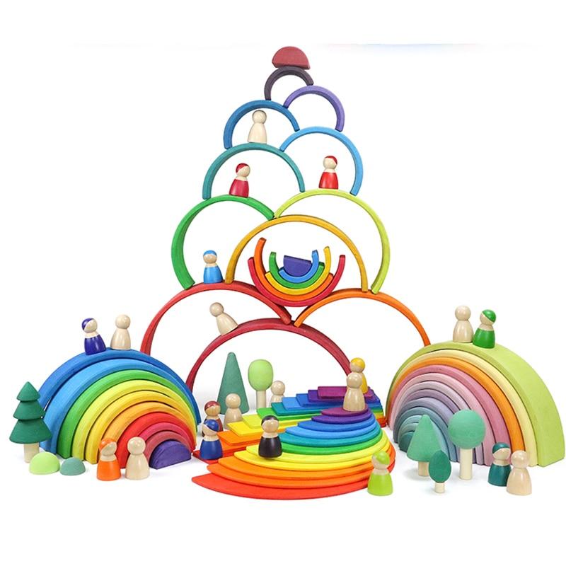 Детские игрушки 12 шт. 6 шт. радужные блоки деревянные игрушки для детей большие креативные радужные строительные блоки Монтессори обучающая...