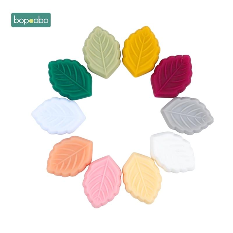 Bopoobo 10pc Silicone Beads BPA Free Cartoon Leaves Teething Leaf Bead DIY Teething Necklace Pacifier Food Grade Baby Teether