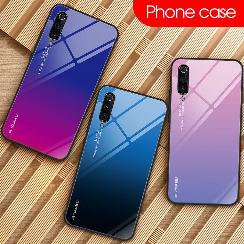 Gebeizt Telefon Fall für Xiao mi mi 9 SE 8 Lite A1 A2 6 Gradienten Gehärtetem Glas Fall für Xiao mi mi 9T Pro mi x 3 Max 2S Pocophone F1