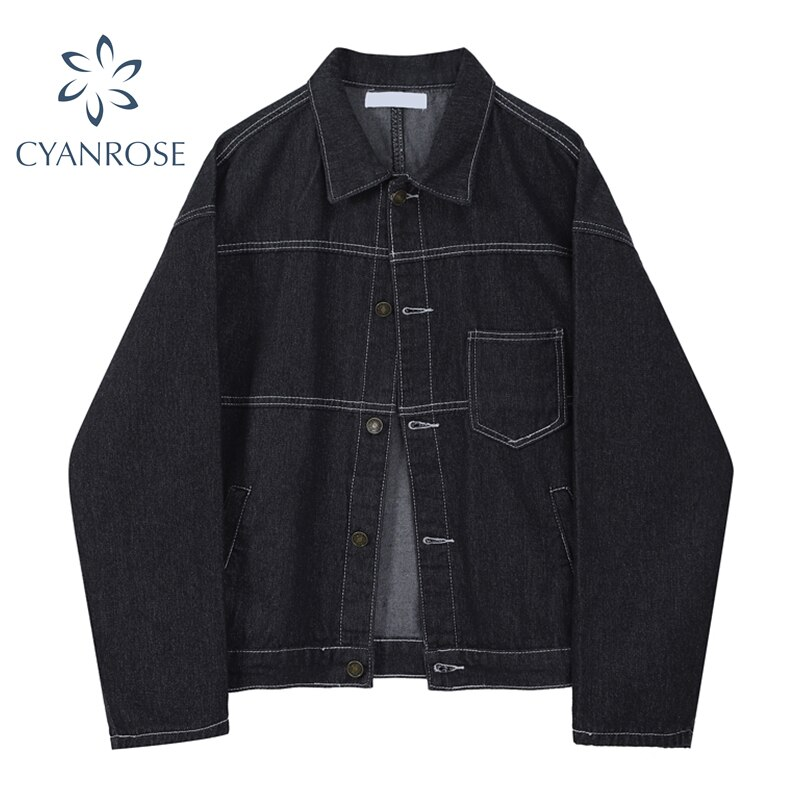 Black Denim Coat Women Single Breasted Stitched Retro Streetwear Korean Harajuku Cowboy BJacket Fema