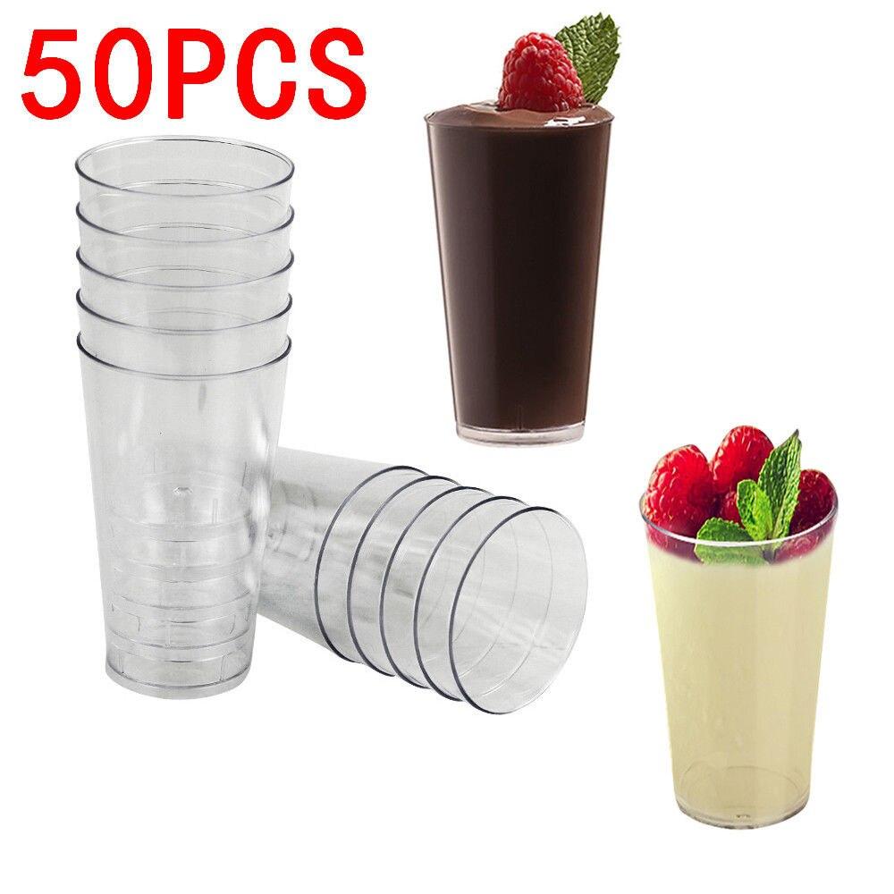 Mini tiradores, 50x3oz, vasos de cristal para fiesta, vaso para bebida, vasos de plástico para postre de gelatina, suministros de cocina