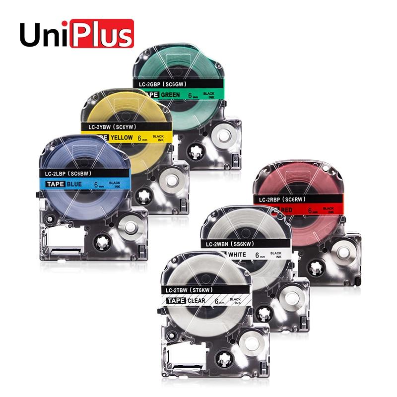 UniPlus 6mm SK6TW SS6KW SC6RW SC6YW SC6BW SC6GW las cintas de etiquetas para Casio rey Jim LC 2WBN 2TBN 2RBP 2YBP 2LBP 2GBP etiquetadora