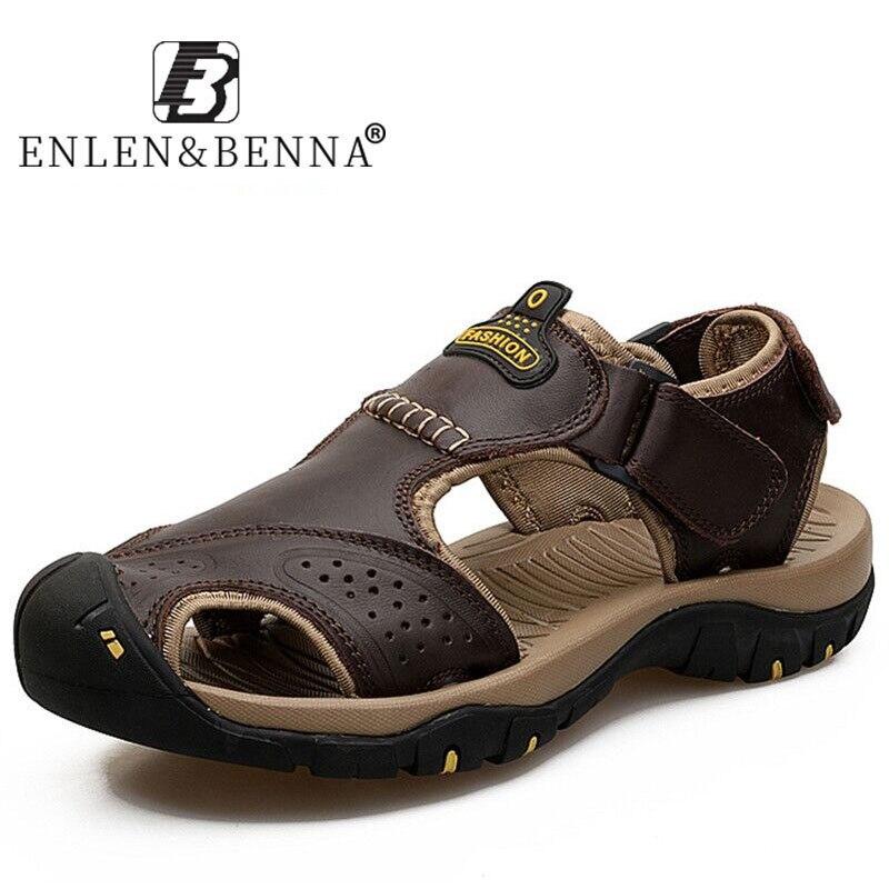 Sandálias de couro de verão homens sandálias de praia ao ar livre confortável moda masculina respirável borracha sandalias hombre 2020 tamanho grande 46