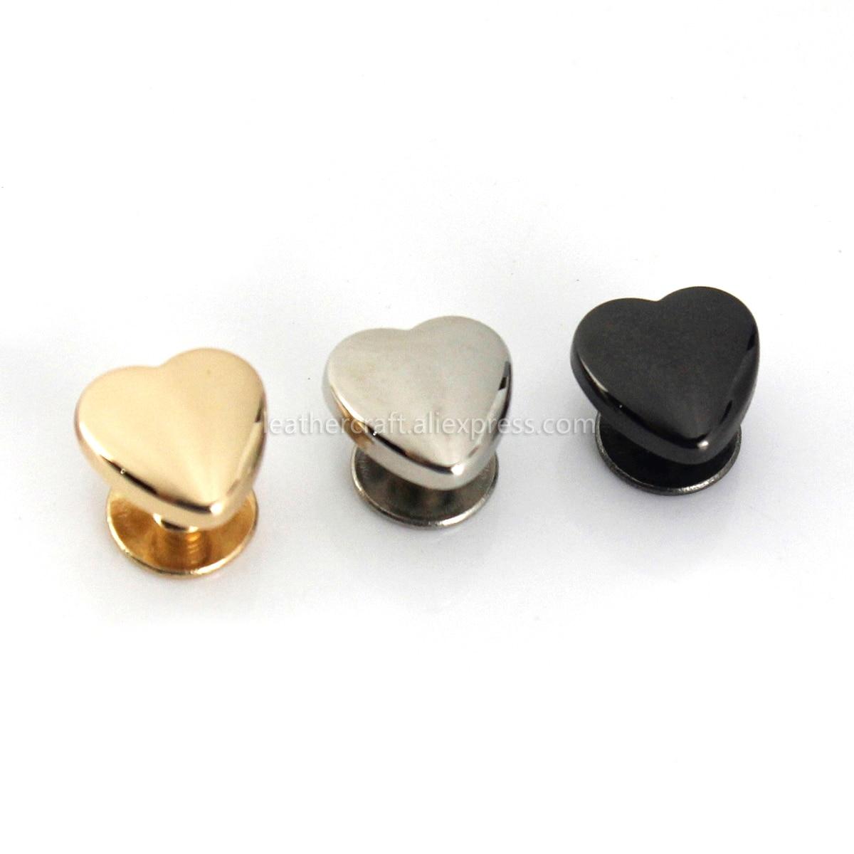 10pcs Heart Shape Metal Screw Back Rivets for Leather Studs Nail Garment Leather Craft Belt Wallet B