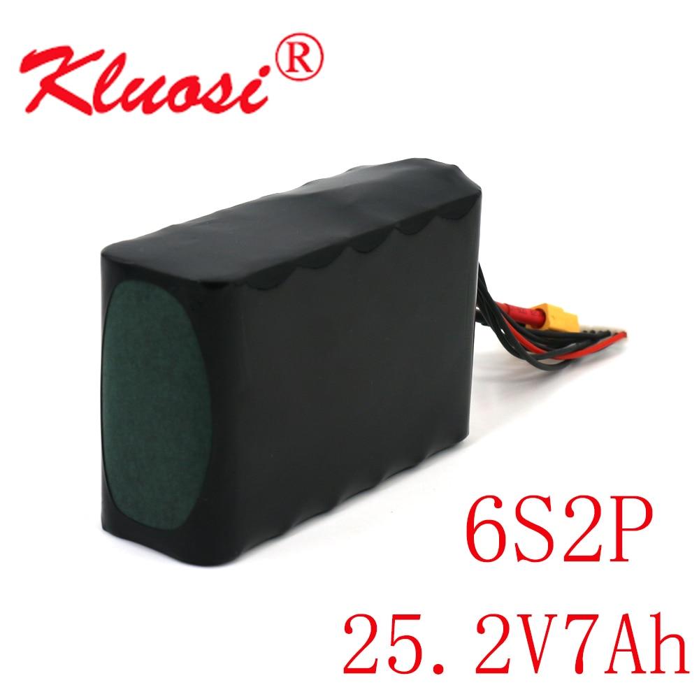 KLUOSI 25.2V ليثيوم أيون بطارية 6S2P 24V 7AhHigh قدرة UAV قابلة للشحن لمختلف RC طائرة بدون طيار Quadrotor XH2.54-7P XT60
