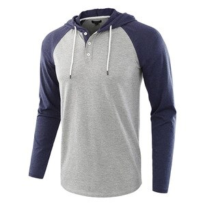 2020 T-Shirt for Men Cotton Hhooded Long-sleeved T-shirt Patchwork Fitness Men Tops US S-XXL