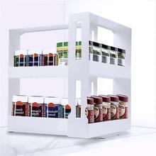 Estante de almacenamiento multifunción de 2 capas, caja de almacenamiento de alimentos, estante de condimentos giratorio, pulsador giratorio