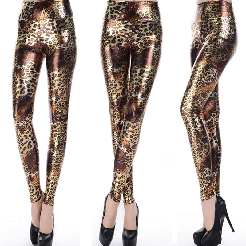 DROZENO Pencil pants shiny golden leopard pattern nine-point high-waist imitation leather feet pants