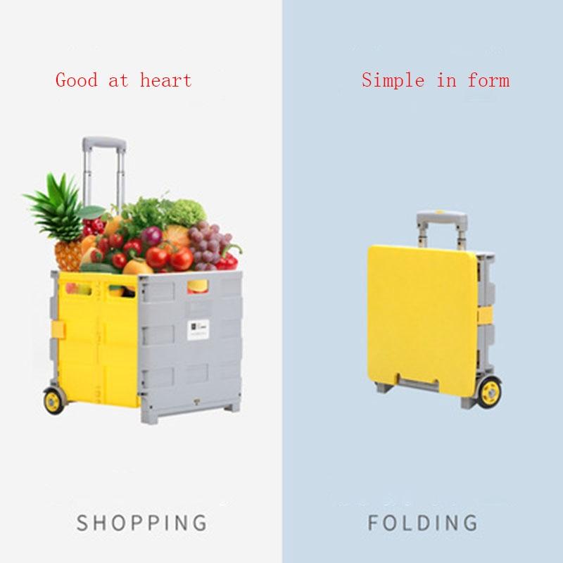 Бытовая Складная Тележка для путешествий, популярная тележка для покупок, ручная портативная тележка для супермаркета, удобная тележка
