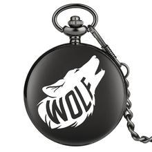 Montre de poche motif loup spécial pour la mode masculine cadran analogique horloge Neaklace chaîne épaisse pendentif montres relogio de bolso