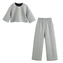 2020 novo conjunto de 2 peças de plush crop top mangas curtas & calças de perna larga cintura alta elástico cós conjunto femme