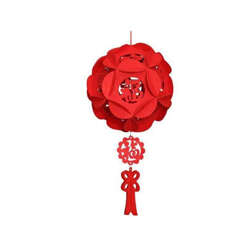 22cm 26cm 32cm colgante de Festival de Primavera linterna roja ornamento de hortensia de fieltro