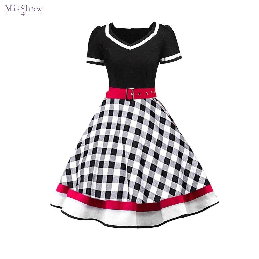 50s Vintage Rockabilly vestido Retro de Mujeres para el verano, cuadros Swing vestido de Pin Up elegante vestido de fiesta Vestidos de traje de mujer