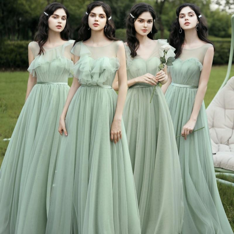 Vestidos de dama de honor verde polvoriento azul nueva ALine de tul 4 estilo Bohemia boda invitados vestido bohemios largos vestido dama de honor plus