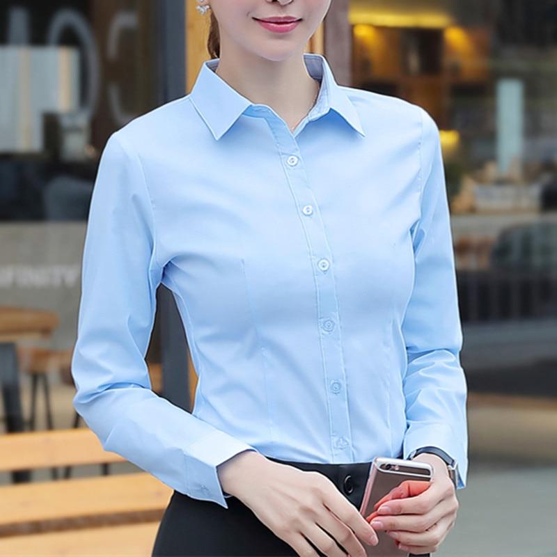 Корейские женские хлопковые рубашки, белая рубашка, женские рубашки с длинным рукавом, топы, Офисная Женская Базовая рубашка, блузки, женска...