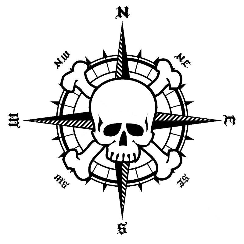 Car Sticker Personality NSWE Bardian Pirate Compass Skull PVC Decorative Cover Scratch Black/White, 16cm*15cm