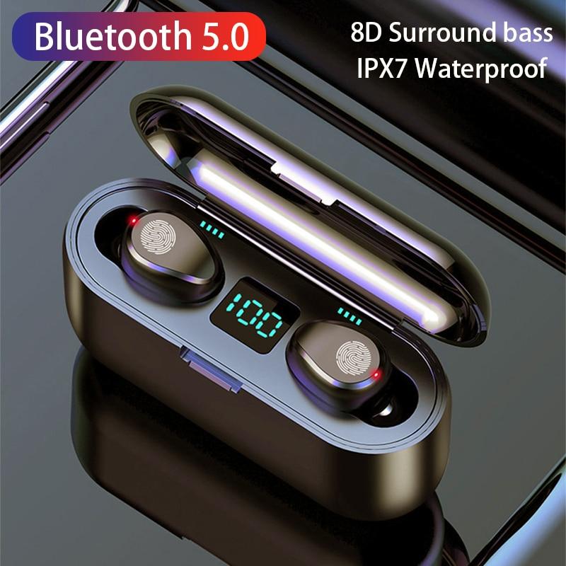 TWS Wireless Bluetooth 5.0 Earphones 2500mAh Charging Box 9D Stereo Wireless Headphones Sports Water