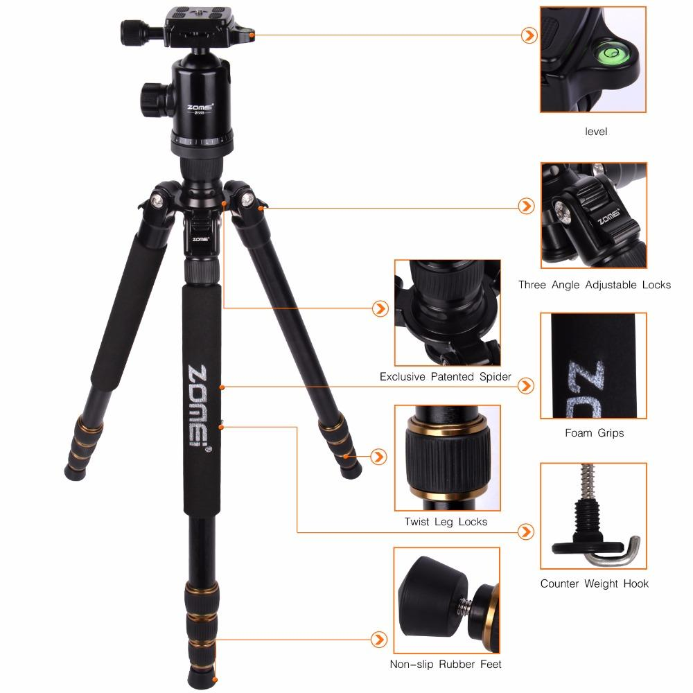 Zomei Z668  Professional Photographic Travel Compact Aluminum Heavy Stable Tripod Monopod Ball Head for Digital DSLR Camera enlarge