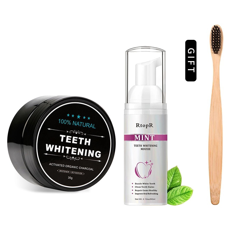 3PCS/SET Mousse Foam Toothpaste Teeth Whitening+Bamboo Toothbrush+Activated Charcoal Powder Coconut Oil Teeth Whitening Kit